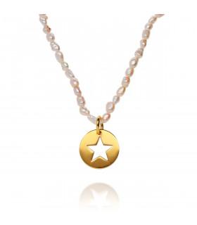 Collar perlas con medalla estrella