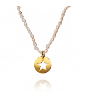 Pearl necklace with star medal