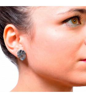 Buy deformed circle silver earrings