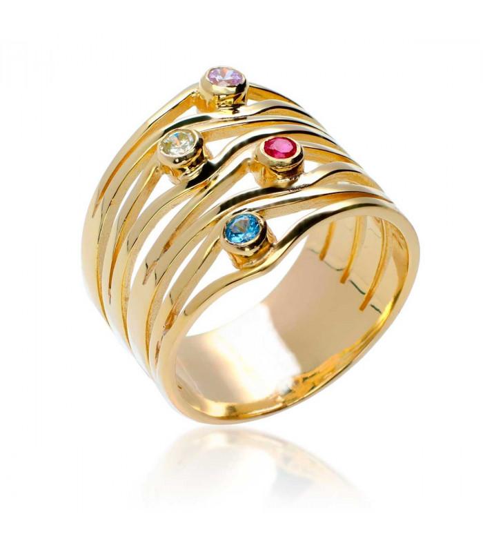 Multicolor silver golden ring