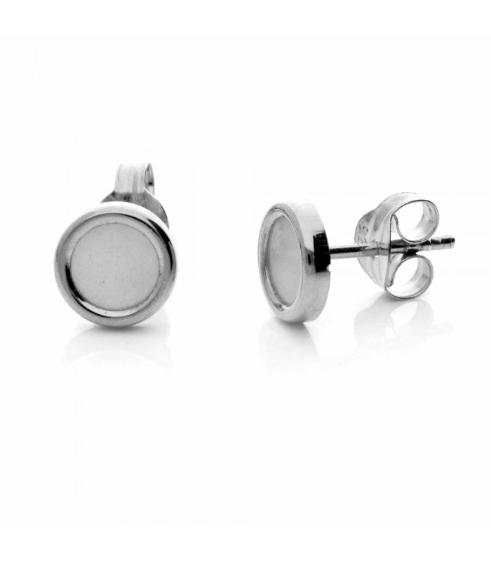 Silver circle earring with mother of pearl