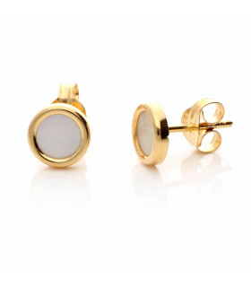 Golden mother of pearl circle earring