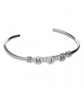 Silver tórculo bracelet with initials