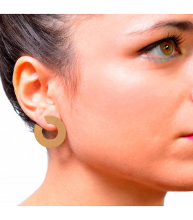 Flat silver hoops with gold plating