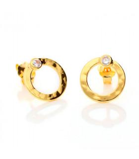Golden hoop earrings with zirconia