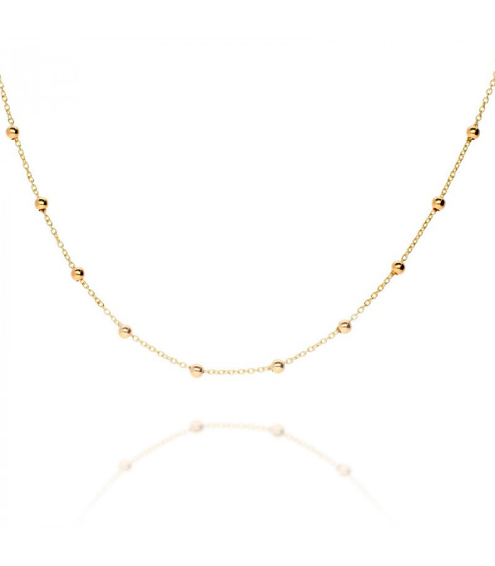 Ball and chain necklace in sterling gold