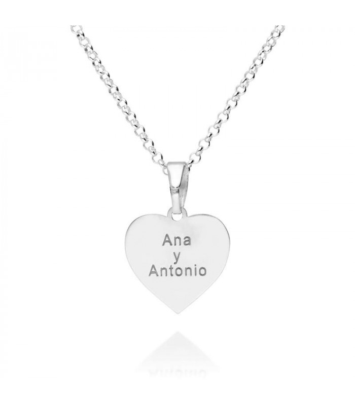 Personalized silver heart pendant