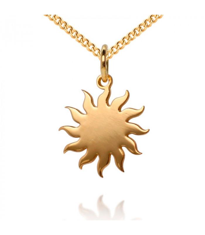 Sun pendant in sterling gold