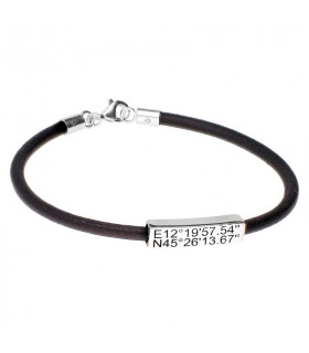 Personalized leather coordinate bracelet