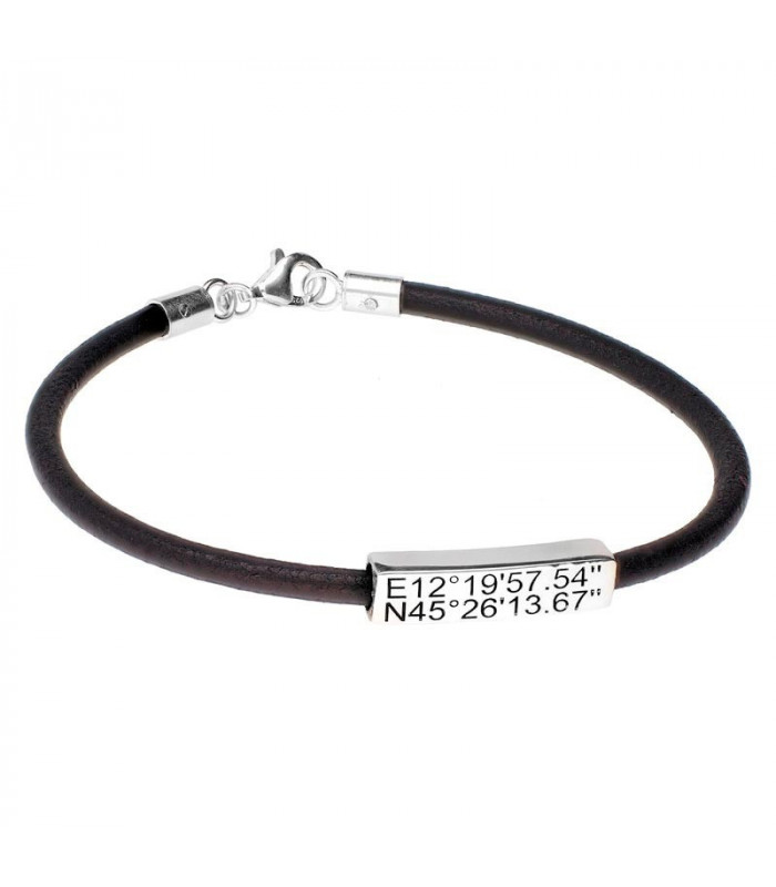 Personalized leather coordinate bracelet