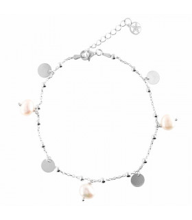 Balls, pearls and medals anklet