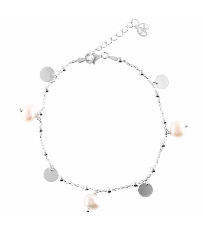 Tobillera bolas, perlas y medallas