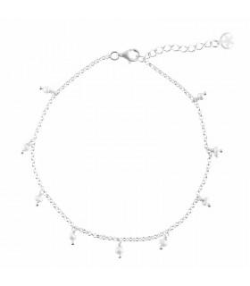 Tobillera perlas en plata de primera ley