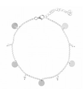Anklet with pearls and medals in sterling silver