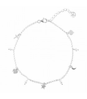 Clover, cross, star, moon and heart anklet