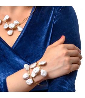 Baroque silver pearl bracelet