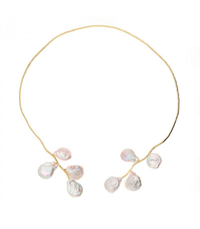 Golden baroque pearl chokers