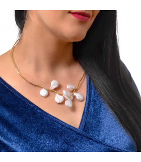 Baroque pearl necklace in gold plated silver