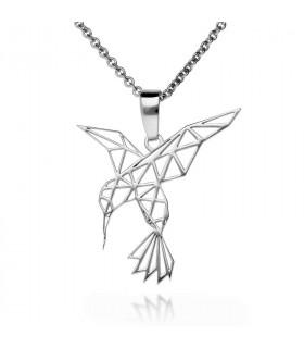 Colgante colibrí origami en plata de primera ley
