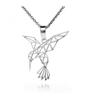 Origami hummingbird pendant in sterling silver