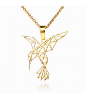 Colgantes origami colibrí dorado