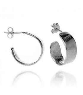 Wide wax earrings in silver