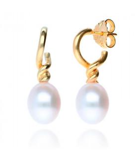 Pendientes perlas pera dorados