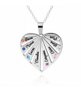 Colgante con forma de corazón con nombres personalizados en plata