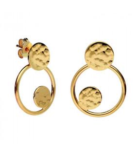 Small golden hoops earring
