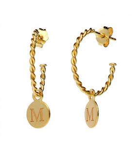 Initial medals hoop earrings