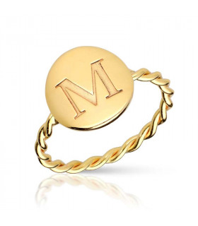 Medal ring with personalized initial M