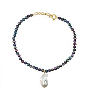Collar perla Tahití montada en plata de primera ley chapada en oro