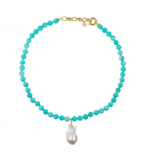 Amazonite necklace with baroque pearl pendant