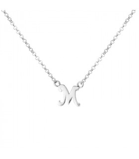 Initial M necklace in silver