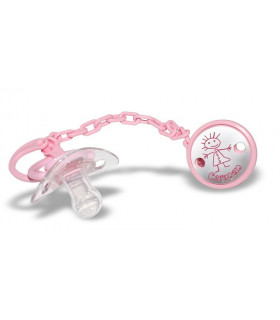 Pink girl name pacifier clip