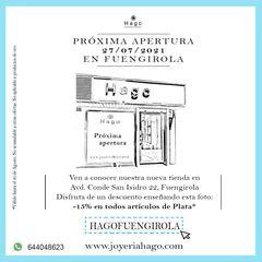 Gran apertura❤️mañana día 27 🎉 Ven a conocer nuestra nueva tienda en Fuengirola y disfruta de un descuento de bienvenida de 15% Te esperamos 😍 . #fuengirola #hago #joyeria #joyas #tienda #apertura #descuento #joyeriahago
